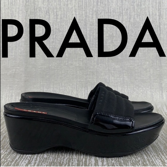 1a15c93cf21 PRADA PATENT WEDGE SANDALS 💯AUTHENTIC. M 5c52ebb55c44526ed8dea424